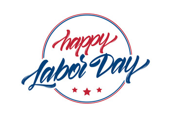 Vector illustration: Hand drawn lettering composition of Happy Labor Day with stars isolated on white background.
