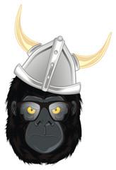 gorilla, monkey, animal, zoo, head, illustration, cartoon, evil, evil beast, glasses, helmet, viking