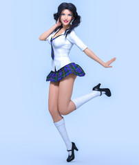 3D beautiful young attractive girl school uniform.High school student.White blouse, blue short skirt cage.Woman studio photography.High heel.Conceptual fashion art.Seductive pose.Render illustration