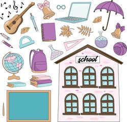 School Autumn Sea Underwater Vector Illustration Set VIVAT SCHOOL for Digital Print, Holidays, Wall Art, Scrapbooking, Photo Album Design and Digital Paper