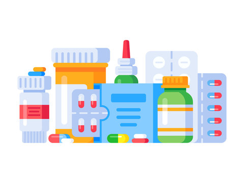 Medication drugs. Medicine pill, pharmacy drug bottle and antibiotic or aspirin pills. Medications isolated vector illustration