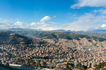View over La Paz in Bolivia with the Andes in the background