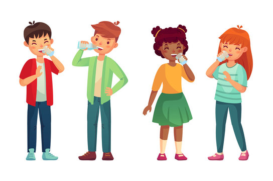Kids drink glass of water. Happy boy and girl drinks. Children drinking hydration level care vector cartoon illustration