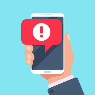 Alert message mobile notification. Danger error alerts, virus problem or spam notifications on phone screen vector illustration