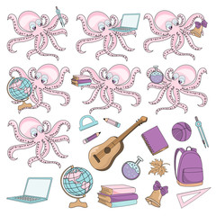 School Autumn Sea Underwater Vector Illustration Set OCTOPUS PUPIL for Digital Print, Holidays, Wall Art, Scrapbooking, Photo Album Design and Digital Paper
