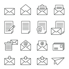 Mail related icons: thin vector icon set, black and