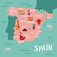 Map Of Spain Landmarks.Vector Map Of Spain With Landmarks People Food And Plants Travel