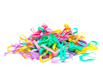 Colorful hair rubber bands isolated on white background