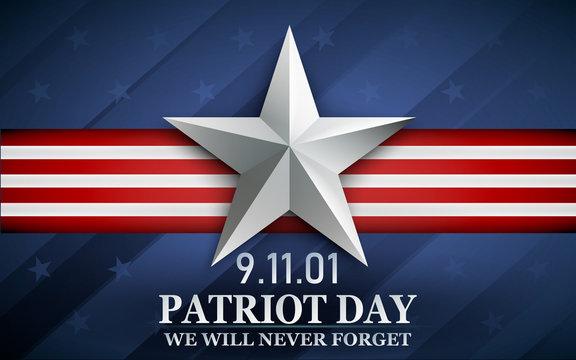 Patriot day. Design for postcard, flyer, poster, banner. 11th of september. We Will Never Forget. Vector illustration.