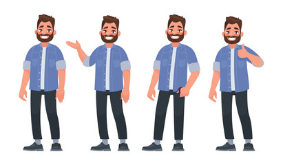 Set of character a handsome bearded man in casual clothes in different poses