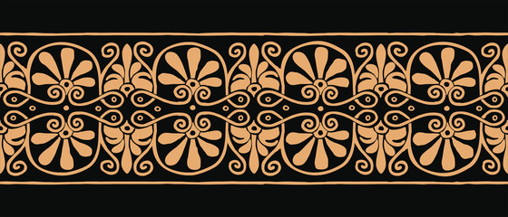 Classic vector Ancient Greek ornament on a black background for graphic design.