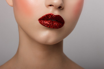 Perfect Lips. Sexy Girl Mouth close up. Beauty young woman Smile. Natural plump full Lip. Lips augmentation. Nose. Red lipstick. Tinsel