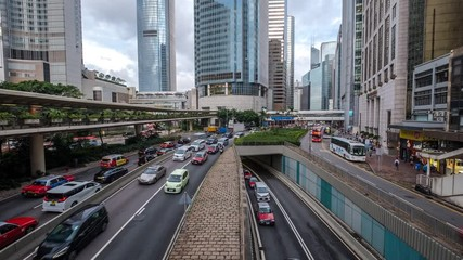 Fotomurales - Central, Hong Kong  - August 17, 2018 : Rush hour at business center of Hong Kong