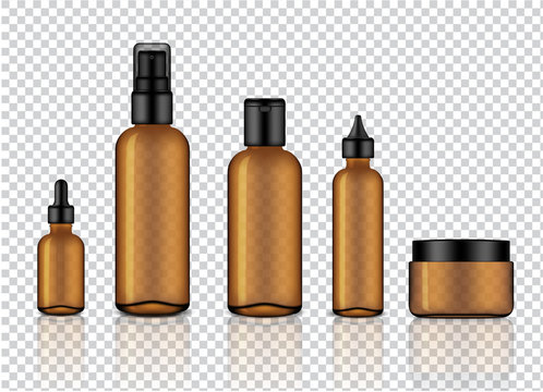 Mock up Realistic Glossy Amber Transparent Glass Cosmetic Soap, Shampoo, Cream, Oil Dropper and Spray Bottles Set With Black Cap for Skincare Product Background Illustration