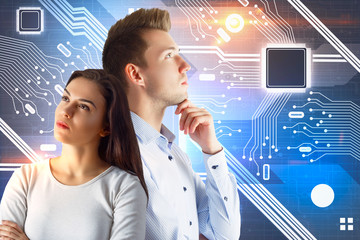 Teamwork and computing concept