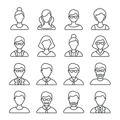 People related icons: thin vector icon set, black and white kit