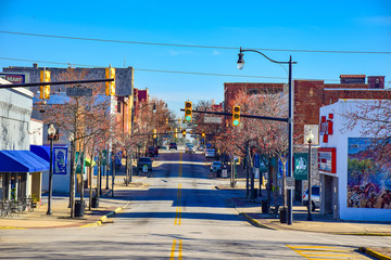Main Street in Downtown Gaffney, South Carolina, SC, USA