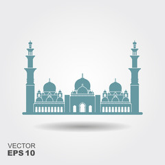Flat design of Sheikh Zayed grand mosque Abu Dhabi illustration vector