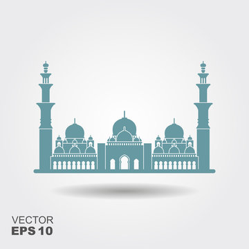 Flat design of Sheikh Zayed grand mosque Abu Dhabi illustration vector