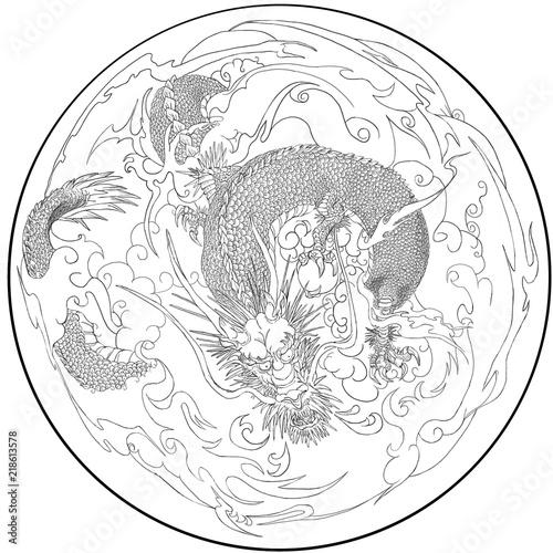竜が雲に乗る様子を描いたイラスト古典的墨絵のスタイルを参考に現代風