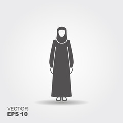 Arab woman wearing a traditional black Arabic dress