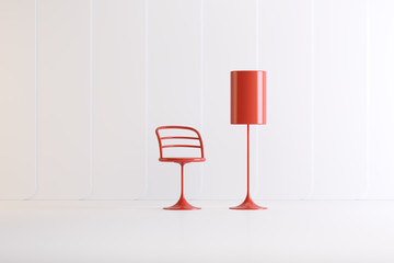interior items in studio on a colored background