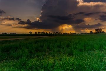countryside panorama at sunset