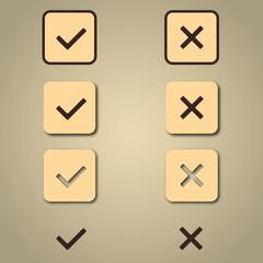 Retro check sign button icon
