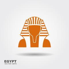 Egyptian golden pharaohs mask icon. Flat illustration of egyptian golden pharaohs mask