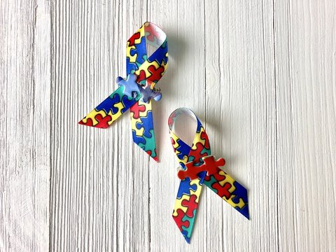 Autism awareness ribbons