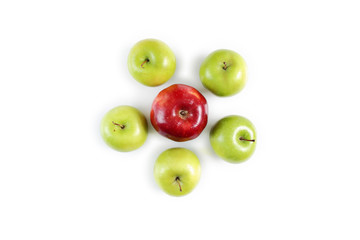 Red apple stand out among green apples
