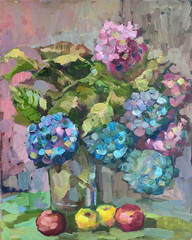 still life with bouquet of hydrangea. oil painting