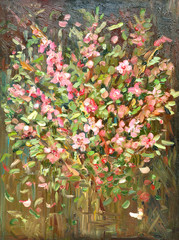 abstract still life with bouquet of blossom almond. oil painting