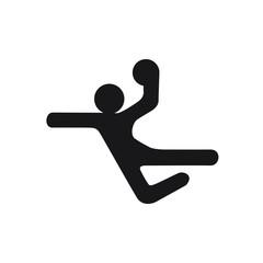 handball black logo symbol on white background simple man with ball