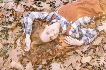 redhair young beauty in autumn