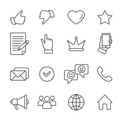 Social network related icons: thin vector icon set, black and white kit