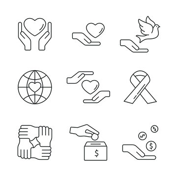 Support and care related icons: thin vector icon set, black and white kit