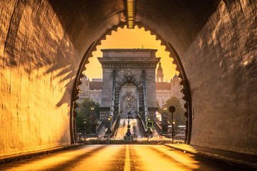Keuken foto achterwand Boedapest Budapest, Hungary - Entrance of the Buda Castle Tunnel at sunrise with Szechenyi Chain Bridge and Academy of Science building at background