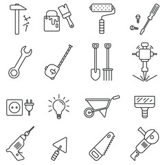 Tools related icons: thin vector icon set, black and white kit
