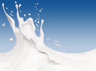 Splash milk abstract background 3d rendering