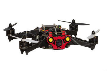Dron quadrocopter isolated on white background.