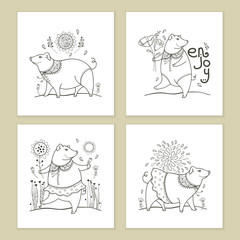Vector set of greeting card with outline black cute funny pig isolated on white background. Contour symbol of Chinese New Year 2019. Ornate pig and floral decor for holiday design or coloring book.