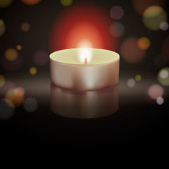 Vector illustration of burning candle on black background with bokeh.