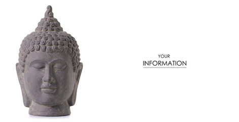 Clay head buddha in hand pattern on white background isolation