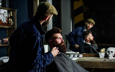 Barber busy with grooming beard of hipster client, mirror reflexion on background. Grooming concept. Hipster with beard covered with cape trimming by professional barber in stylish barbershop