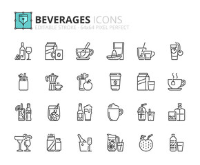 Outline icons about beverages