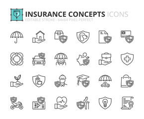 Outline icons about insurance concepts