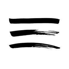 black vector brush strokes of paint on white background