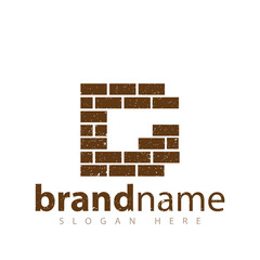 G Letter with brick wall logo icon vector