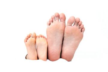 小さな足と大きな足裏、並んだ仲良し親子のイメージ